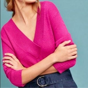 NWT Anthropologie Hot Pink V-Neck Sweater